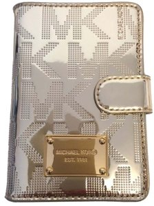 Michael Kors Michael Kors Pale Gold Item MK Signature Mirror Metallic Item Passport Wallet