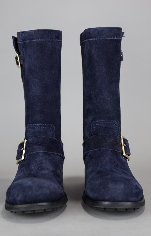 c52186d40c2ea Jimmy Choo Navy Blue Youth Suede Flat Biker Boots/Booties Size US 8 Regular  (M, B) - Tradesy