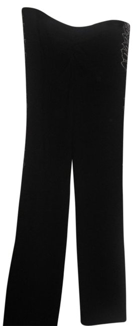 Catherine Malandrino Fabulous Wool With Side Embroidery Size Stretch Embroidered Straight Pants black