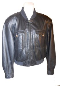Liz Claiborne Leather Bomber black Leather Jacket