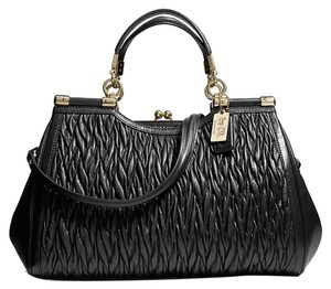 Coach Twist Leather Stunning Satchel in Black Gold