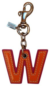 """Coach Silver and Leather Initial Purse Charm - Capital Letter """"W"""""""