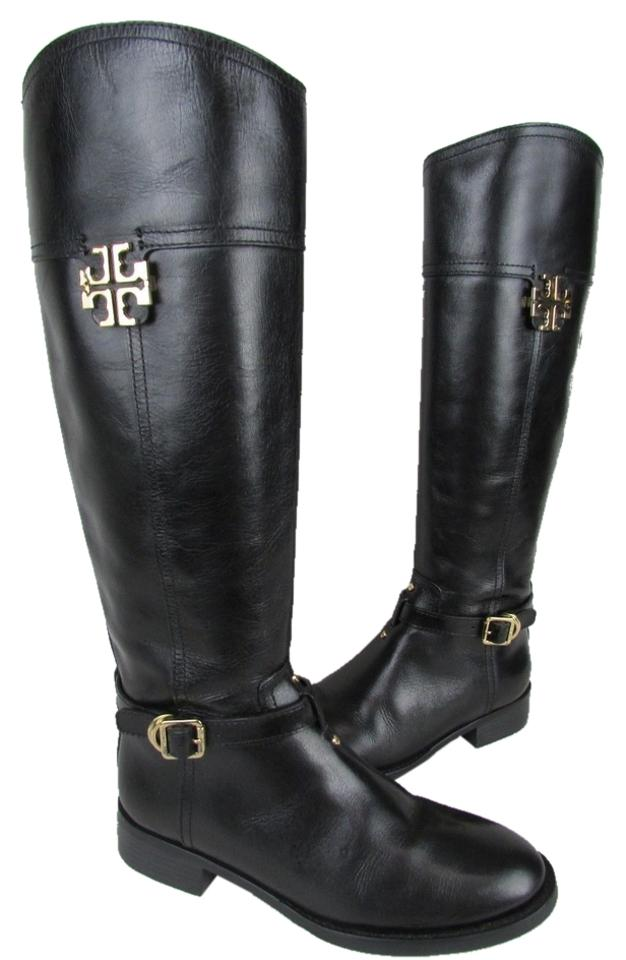 4e41c9b9e17f Tory Burch Black Eloise Leather Riding Boots Booties Size US 7 ...