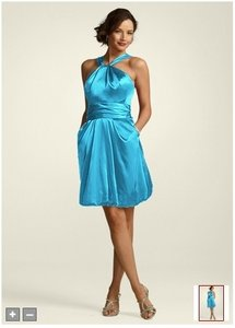 David's Bridal Blue Silk Y Neck Charmeuse Bubble Formal Bridesmaid/Mob Dress Size 10 (M)