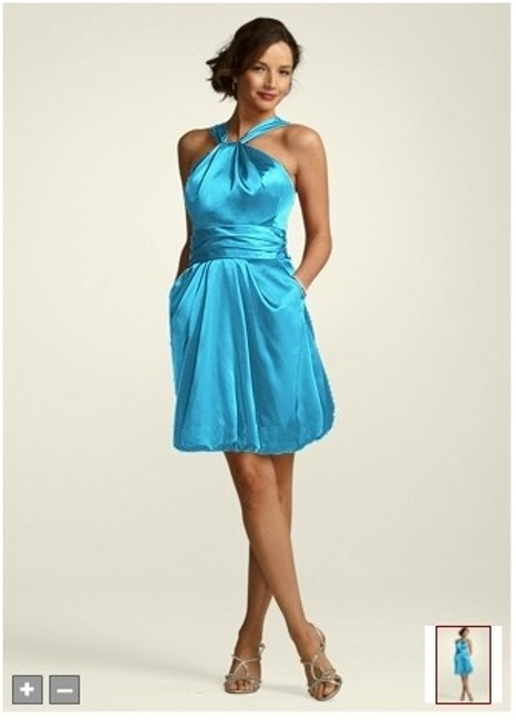 Item - Blue Silk Y Neck Charmeuse Bubble Formal Bridesmaid/Mob Dress Size 10 (M)