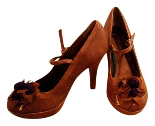 Anthropologie Purple Platform Cognac Pumps