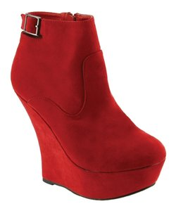 Red Circle Footwear High Platform Bootie Sexy Red Wedges