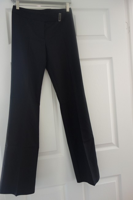Laundry by Shelli Segal Perfect Sexy Stiped Striped Sexy Chic Chic Trousers Chic Trousers Boho Boot Cut Pants Dark Grey/Black