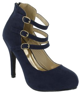 Red Circle Footwear Bootie Platform Triple Strap Navy Platforms