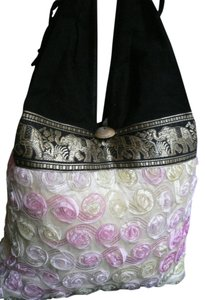 Women Hobo Black Flowers Shoulder Bag