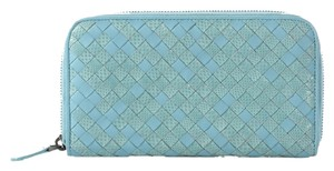 Bottega Veneta Woven Blue Zip Wallet