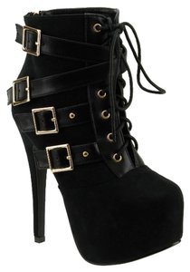 Red Circle Footwear Lace Bootie Sexy High Heel Black Boots