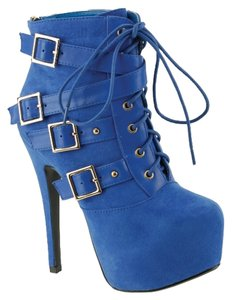 Red Circle Footwear Lace Sexy High Heel Blue Boots