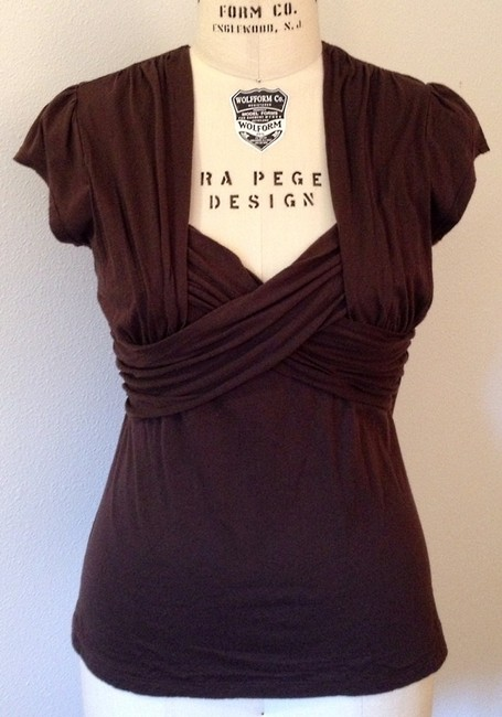 Item - Chocolate Deletta Ruched Cross Front Tee Shirt Size 16 (XL, Plus 0x)