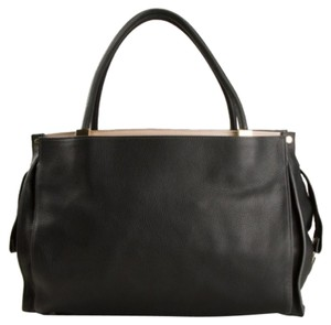 Chloé Imported Leather Logo Pebbled Satchel in Black
