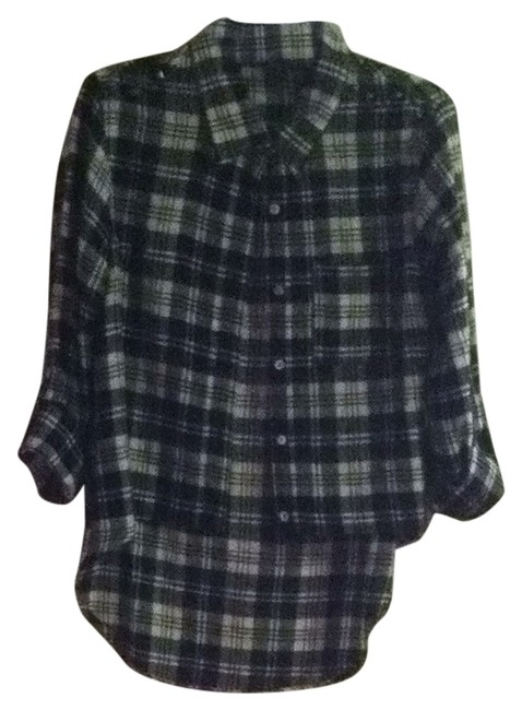 Item - Black and White Plaid Studded Flannel Button-down Top Size 8 (M)