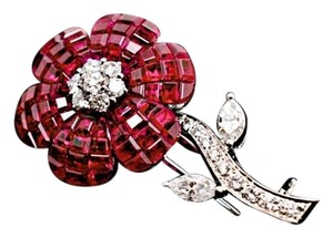 Fred Leighton Fred Leighton Ruby & Diamond Flower Brooch 18K White Gold - Signed