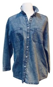 Hypr Blouse Button Down Shirt Denim