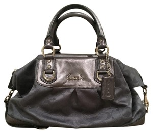 Coach Satchel in Metallic Charcoal Grey