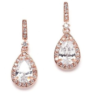 Petite Rose Gold Pear Drop Crystal Bridal Earrings