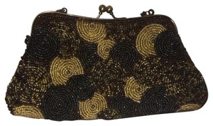 moni couture Gold, Brown, Metallic Clutch