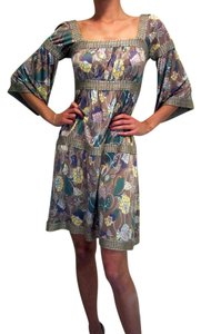 Missoni Empire Waist Peasant Bell Sleeves 3/4 Sleeves Never Worn Floral Pastel Square Neck Dress