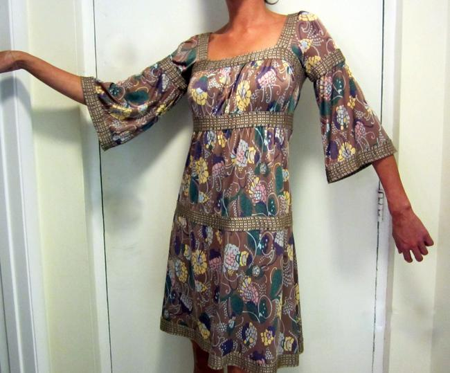 Missoni Empire Waist Peasant Sleeves 3/4 Sleeves Never Worn Floral Pastel Square Neck Dress Image 1