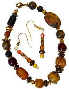 Newport News NEW BRACELET & EARRINGS SET HANDMADE BY ROBYN CARNELIAN JASPER AGATE STONES J51