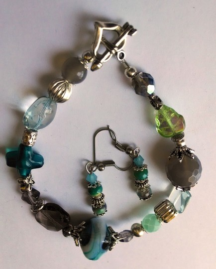 Night Scene RACELET & EARRINGS SET TEAL GLASS, QUARTZ STONES, AGATE SILVER J53
