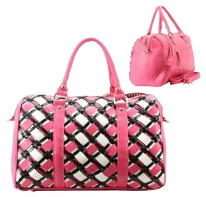 Black White Tote in Pink