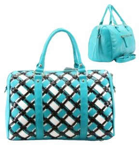 Purse Black Tote in Turquoise