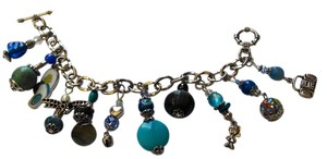 Night Scene CHARM BRACELET BLUE TURQUOISE SHELL GEMSTONES J65