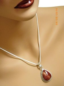NATURAL RED SNAKE SKIN JASPER NECKLACE 925 SILVER PLATED OVER SOLID COPPER