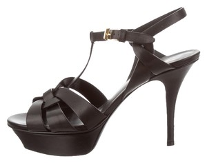 Saint Laurent Ysl Tribute Ysl Ysl Platform Platfrom Black Sandals