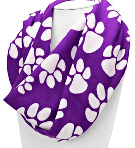 Other Paw Print Soft Infinity Scarf Purple/White