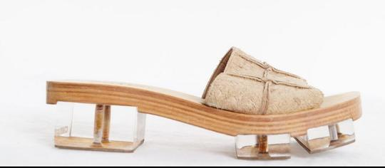 Chanel Lucite Suede Tan and transparent Mules