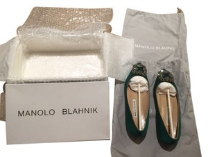 Manolo Blahnik Dark Green Flats