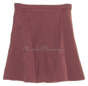 Garnet Hill New Without Tags Short Skater Flared Twill Mini Skirt Pink-Brown