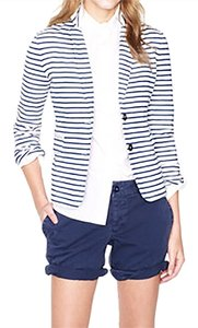 J.Crew White with Blue Stripes Blazer