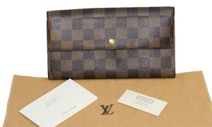 Louis Vuitton Louis vuitton Damiere Ebene Sarah Continental Classic Flap Long Brown wallet