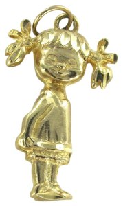 Other 14KT KARAT YELLOW GOLD PENDANT LITTLE GIRL PONY TAIL AND DRESS MOTHERS DAY GIFT