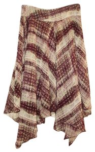 Anne Klein Silk Plaid Handkerchief Skirt Multicolor Burgundy & Green