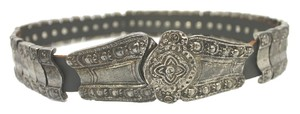 HEAVYWEIGHT EMBOSSED METAL AND LEATHER BELT