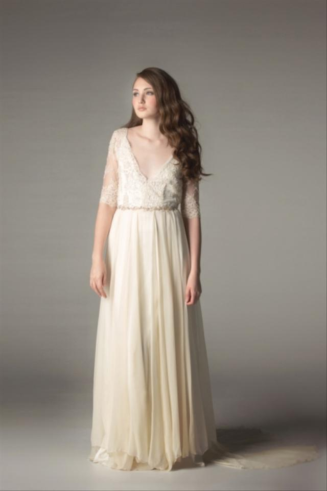 Sarah Seven Ivory Silk Georgette Mon Cheri Feminine Wedding Dress