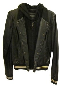 OBEY Bomber Hooded Leather Jacket