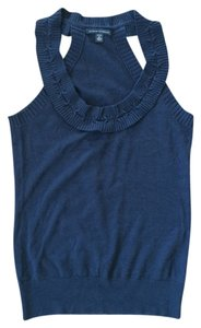 Banana Republic Wool Ruffles Fall Ready Cute Navy Blue Halter Top