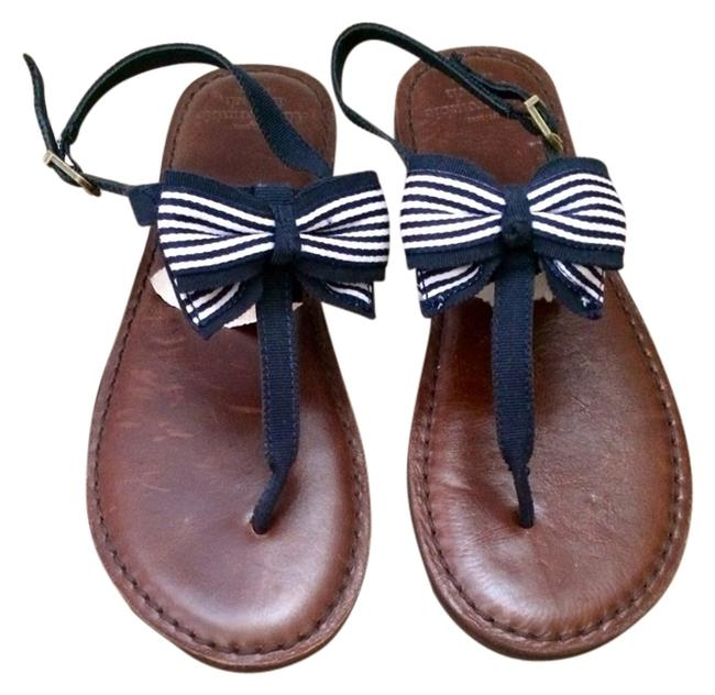 Item - Brown Navy Blue White Genuine Leather Bow Sandals Size US 8 Regular (M, B)
