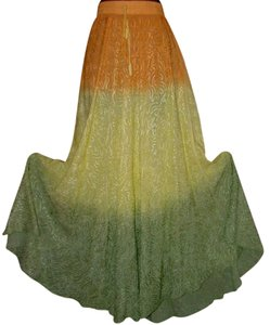 Sol Ombre Embroidered Embellished Skirt Orange Lemon Lime
