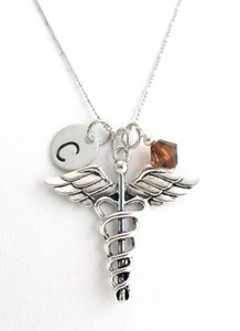 Fashion Jewelry For Everyone Silver Medical Initial Birthstone Doctor Medical Caduceus Charm Doctor Necklace