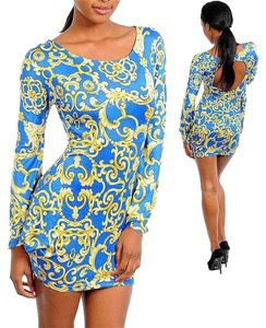 The Vintage Shop short dress royal blue, yellow on Tradesy